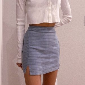 Brandy Melville blue plaid checkered mini skirt